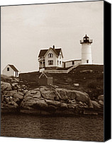 Nubble Light Canvas Prints - Nubble Light Canvas Print by Skip Willits