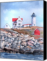 House Painting Canvas Prints - Nubble Lighthouse - Maine Canvas Print by Arline Wagner