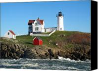 Nubble Light Canvas Prints - Nubble Lighthouse One Canvas Print by Barbara McDevitt