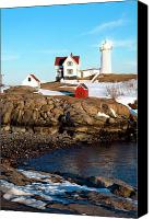 Nubble Light Canvas Prints - Nubble Sun Burst Canvas Print by Greg Fortier