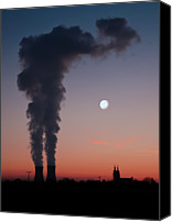 Moon Canvas Prints - Nuclear Power Station In Bavaria Canvas Print by Michael Kohaupt