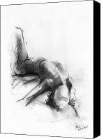 Charcoal Canvas Prints - Nude 4 Canvas Print by Ani Gallery