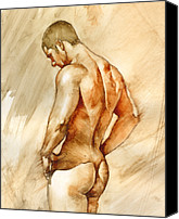 Man Painting Canvas Prints - Nude 41 Canvas Print by Chris  Lopez