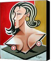 Female Nude Canvas Prints - Nude Bust Female Canvas Print by Martel Chapman