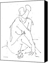 Ladies Drawings Canvas Prints - Nude-Female-Drawing-19 Canvas Print by Gordon Punt