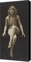 Vintage Pyrography Canvas Prints - Nude Girl 1915 Canvas Print by Stefan Kuhn