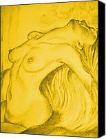 Young Pastels Canvas Prints - Nude-leaning back-001-2880-3840-in Yellow Canvas Print by Pat Bullen-Whatling