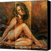 Nudes Canvas Prints - Nude portrait Canvas Print by Arthur Braginsky