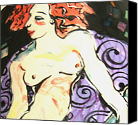 Nudes Ceramics Canvas Prints - Nude redhead Canvas Print by Patricia Lazar