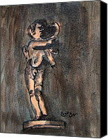 Vatican Painting Canvas Prints - Nude Sculpture Young Boy and Pet Duck Religious Symbolism in Orange and Blue Vatican City Canvas Print by M Zimmerman