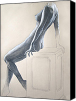 Female Figure Drawings Canvas Prints - Nude Study 6 Canvas Print by Brent Schreiber