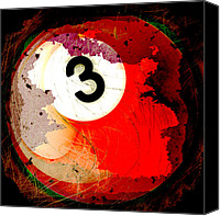 Sports Art Digital Art Canvas Prints - Number 3 Billiards Ball Canvas Print by David G Paul