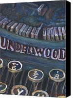 Typewriter Painting Canvas Prints - Number 7 Canvas Print by Barb Pearson