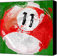 Sports Canvas Prints - Number Eleven Billiards Ball Abstract Canvas Print by David G Paul