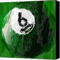 Sports Canvas Prints - Number Six Billiards Ball Abstract Canvas Print by David G Paul