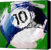 Billiard Digital Art Canvas Prints - Number Ten Billiards Ball Abstract Canvas Print by David G Paul