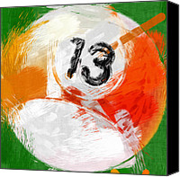 Billiard Digital Art Canvas Prints - Number Thirteen Billiards Ball Abstract Canvas Print by David G Paul