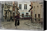 Nun Canvas Prints - Nun on a Bicycle in Bruges Canvas Print by Joan Carroll