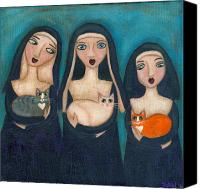 Tabby  Painting Canvas Prints - Nuns and Their Cats Canvas Print by Ryan Conners