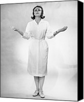 Gesturing Canvas Prints - Nurse Gesturing In Studio, (b&w) Canvas Print by George Marks