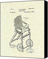 Nursery Artwork Drawings Canvas Prints - Nursery Chair 1885 Patent Art Canvas Print by Prior Art Design