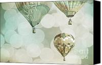 Boy Room Art Canvas Prints - Nursery Mint Balloons Canvas Print by Andrea Hazel Ihlefeld