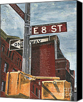 Grey Clouds Painting Canvas Prints - NYC 8th Street Canvas Print by Debbie DeWitt