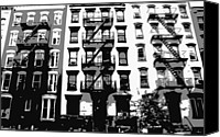 Nyc Fire Escapes Canvas Prints - NYC Apartment BW3 Canvas Print by Scott Kelley