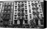 Nyc Fire Escapes Canvas Prints - NYC Apartment BW8 Canvas Print by Scott Kelley