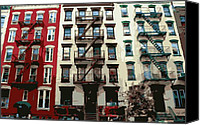 Nyc Fire Escapes Canvas Prints - NYC Apartment Color 16 Canvas Print by Scott Kelley