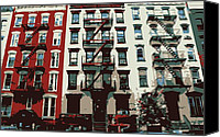 Nyc Fire Escapes Canvas Prints - NYC Apartment Color 6 Canvas Print by Scott Kelley