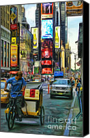 Times Square Digital Art Canvas Prints - NYC Bike Taxi Canvas Print by Jeff Breiman