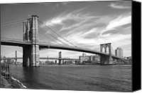 Cities Digital Art Canvas Prints - NYC Brooklyn Bridge Canvas Print by Mike McGlothlen