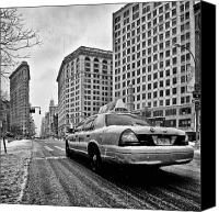 Nyc Photo Canvas Prints - NYC Cab and Flat Iron Building black and white Canvas Print by John Farnan