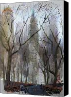 Trees Pastels Canvas Prints - NYC Central Park 1995 Canvas Print by Ylli Haruni