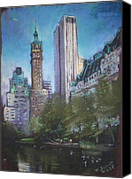 People Pastels Canvas Prints - NYC Central Park 2 Canvas Print by Ylli Haruni