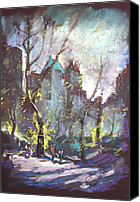 People Pastels Canvas Prints - NYC Central Park Controluce Canvas Print by Ylli Haruni