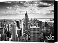 New York Skyline Canvas Prints - NYC Downtown Canvas Print by Nina Papiorek