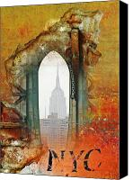 Landmarks Mixed Media Canvas Prints - NYC Empire State Art Abstract Canvas Print by Anahi DeCanio