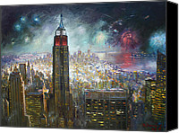 Independence Day Painting Canvas Prints - Nyc. Empire State Building Canvas Print by Ylli Haruni