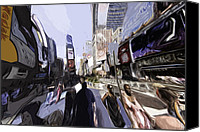 Times Square Digital Art Canvas Prints - NYC impression Canvas Print by Robert Ponzoni