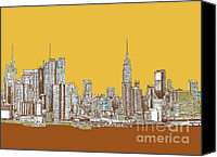 Nyc Drawings Canvas Prints - NYC in mustard Canvas Print by Lee-Ann Adendorff