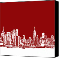 Nyc Drawings Canvas Prints - NYC in red n white Canvas Print by Lee-Ann Adendorff