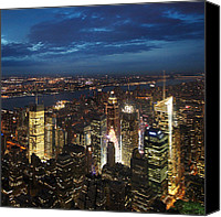 Ny Canvas Prints - NYC Night Lights Canvas Print by Nina Papiorek
