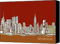 Nyc Drawings Canvas Prints - NYC red sepia  Canvas Print by Lee-Ann Adendorff