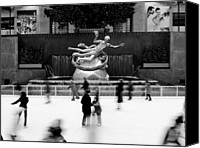Nyc Photo Canvas Prints - NYC Rockefellar Iceskating Canvas Print by Nina Papiorek