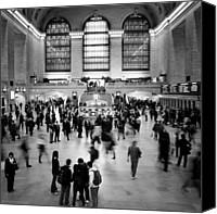 Train Canvas Prints - NYC Rush Hour Canvas Print by Nina Papiorek
