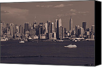 Building Tapestries - Textiles Canvas Prints - Nyc Skyline Canvas Print by Kirit Prajapati