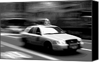 Speeding Taxi Canvas Prints - NYC Taxi BW16 Canvas Print by Scott Kelley