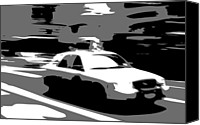Speeding Taxi Canvas Prints - NYC Taxi BW3 Canvas Print by Scott Kelley